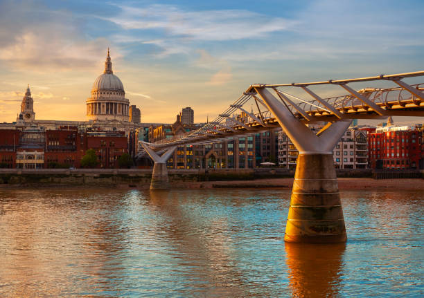 London St Paul Pauls cathedral from Millennium stock photo