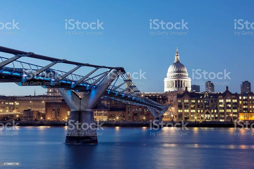 London St Paul's Cathedral and Millennium Bridge at night stock photo