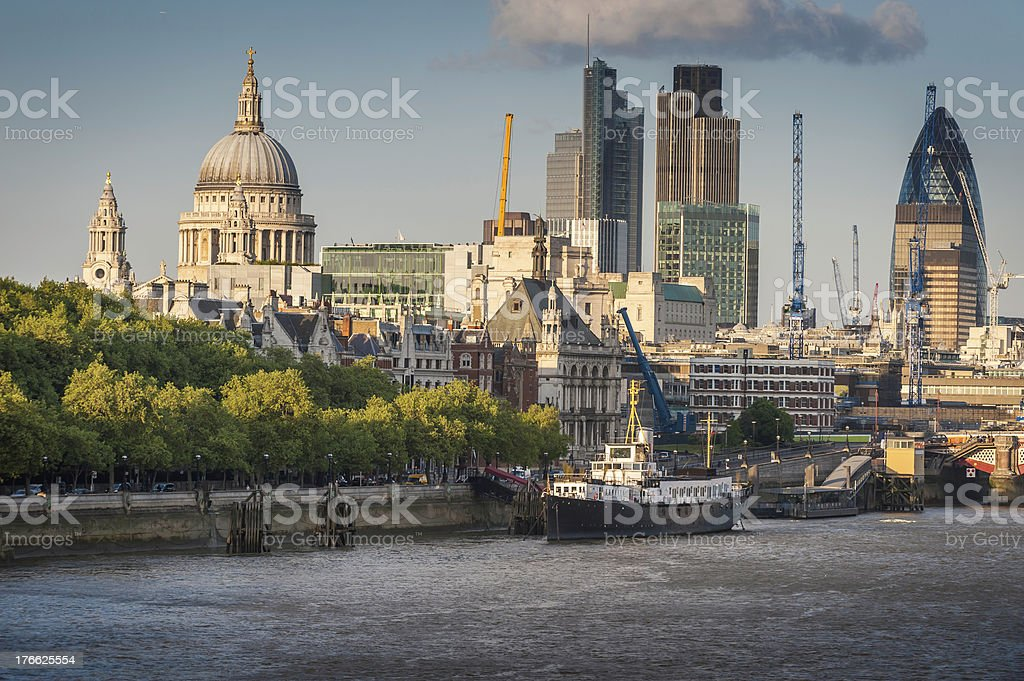 London St Pauls Square Mile Skyscrapers Over River Thames Uk
