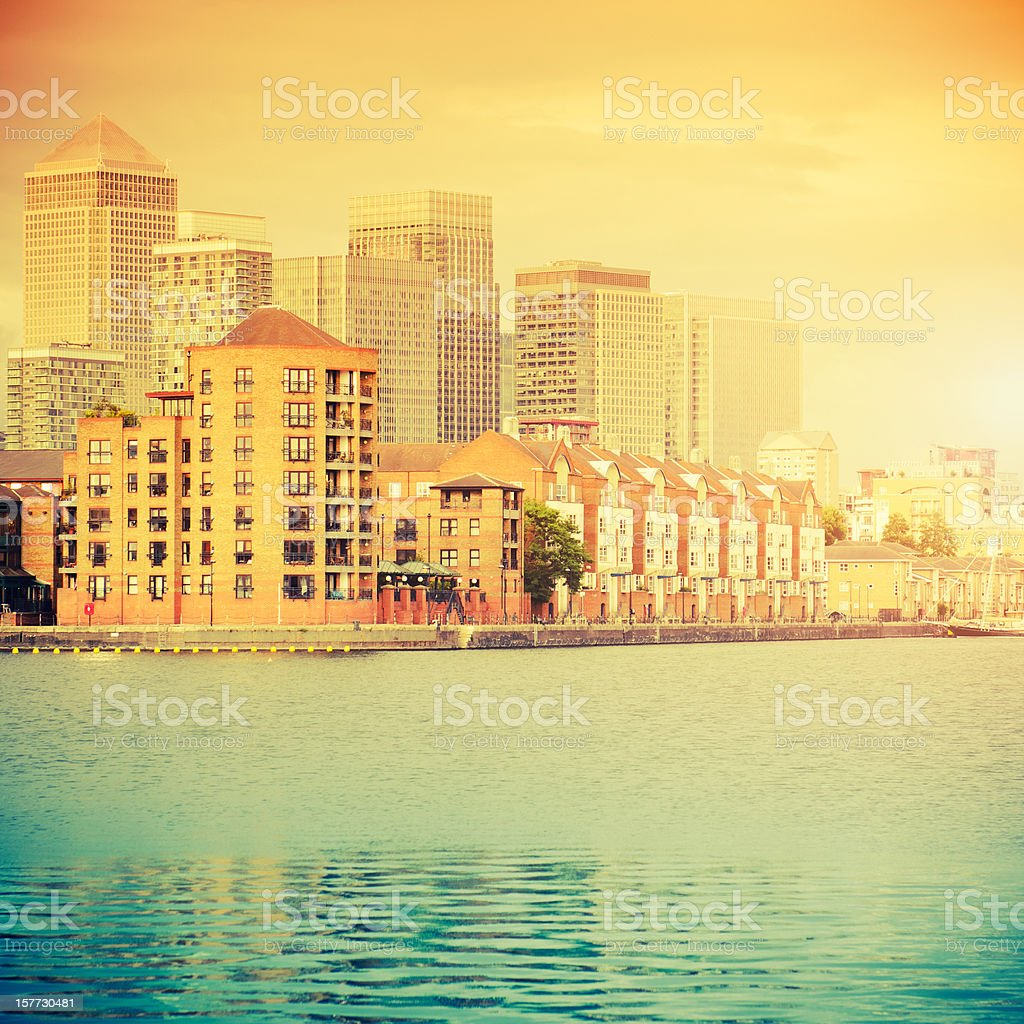 London steel skyline of Canary Wharf and Surrey Quays stock photo