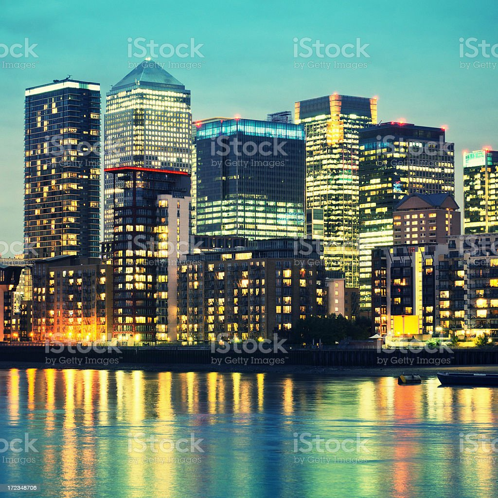 London steel skyline of Canary Wharf royalty-free stock photo