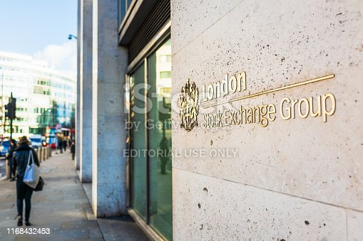 London, UK - A sign on the outside of London's Stock Exchange in the City of London.