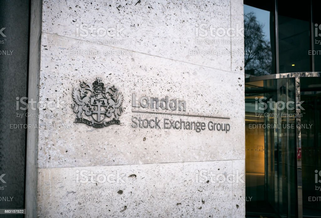 London Stock Exchange logo on a wall stock photo