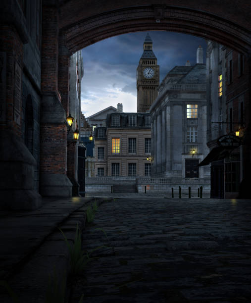 London Street at Night with 19th Century City Buildings 3D render of a London street scene at night with 19th century city buildings and Big Ben 19th century stock pictures, royalty-free photos & images