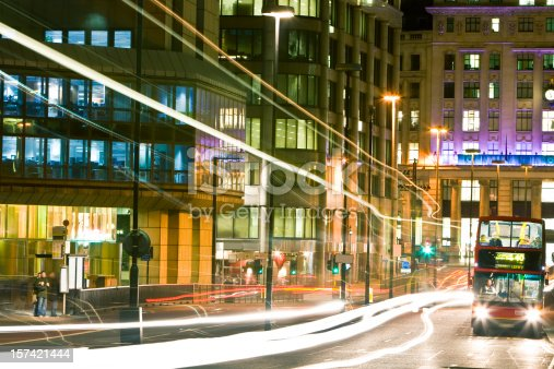 istock London Street at Night With Double Decker Bus and Traffic 157421444