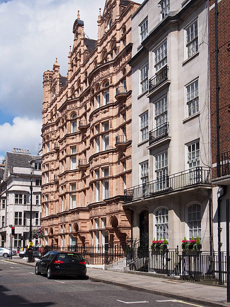 London street with old with apartment buildings mayfair stock pictures, royalty-free photos & images