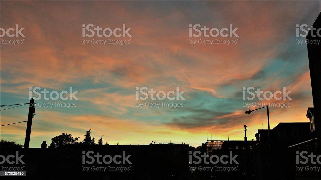 London - Sunset in Barnet stock photo