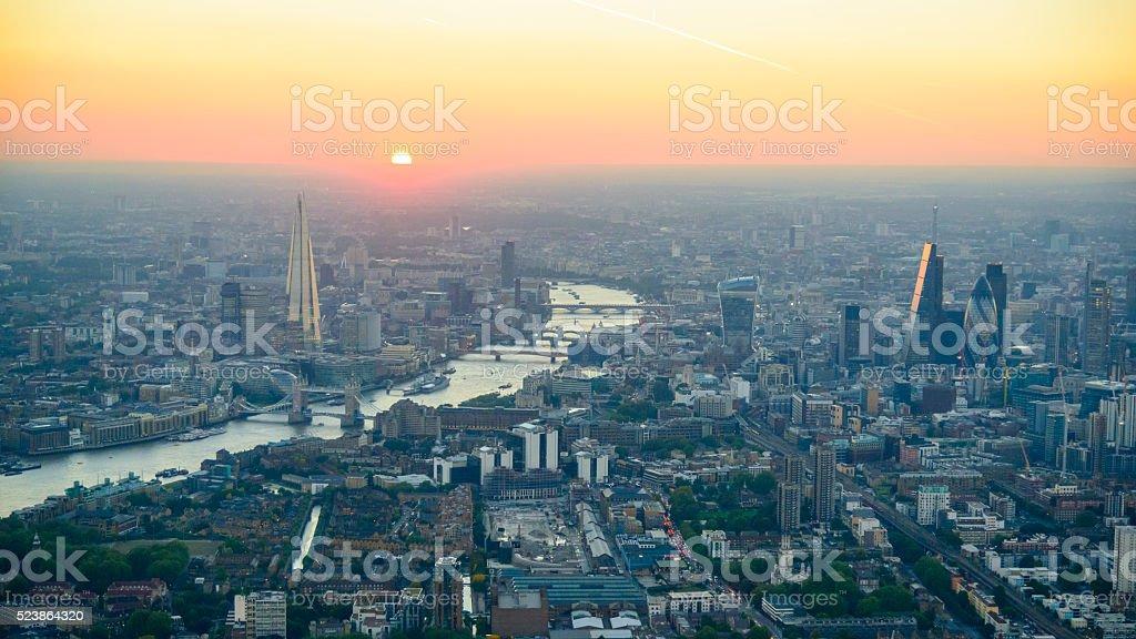 London Sunset panorama stock photo