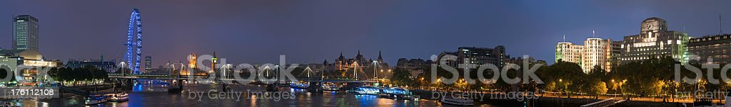 London super panorama cityscape River Thames bridges at Westminster royalty-free stock photo