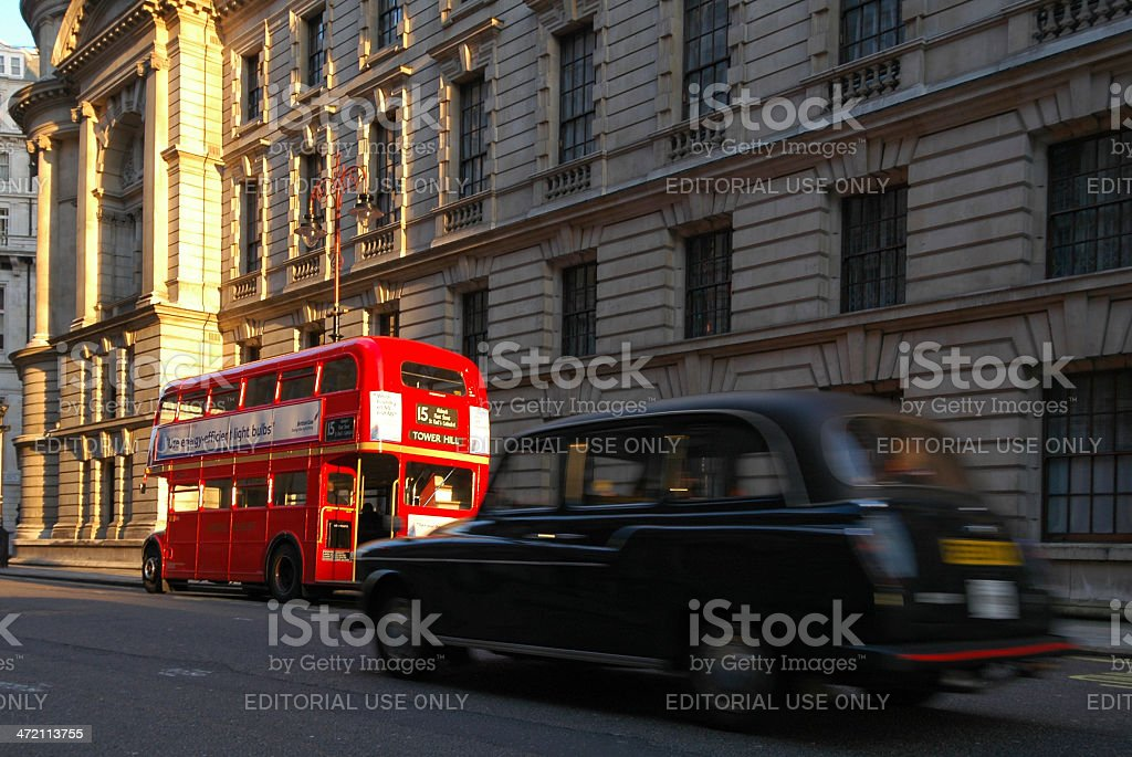 London Taxi and Bus stock photo