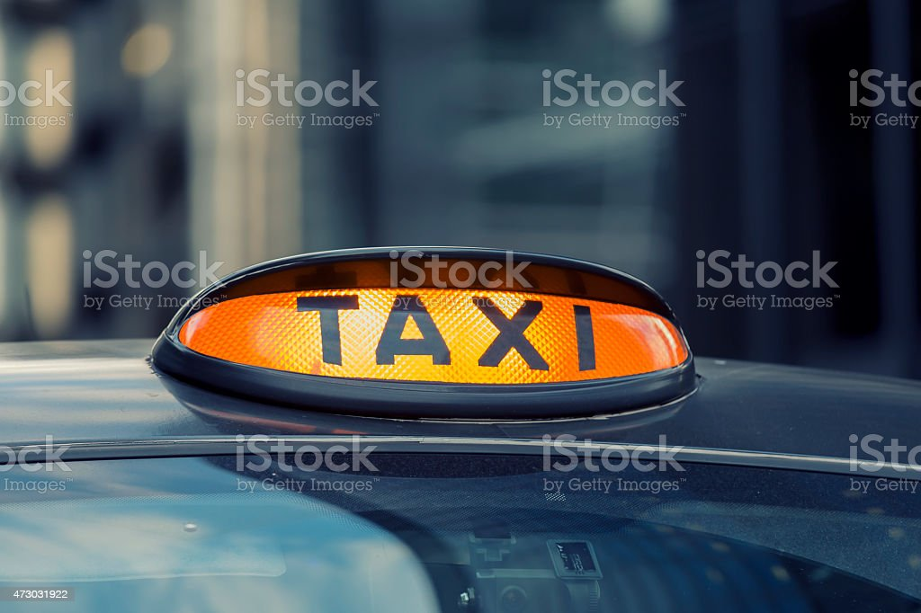 London Taxi in the City of London stock photo