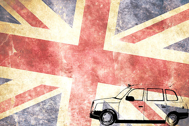 London taxi with Union Jack flag stock photo