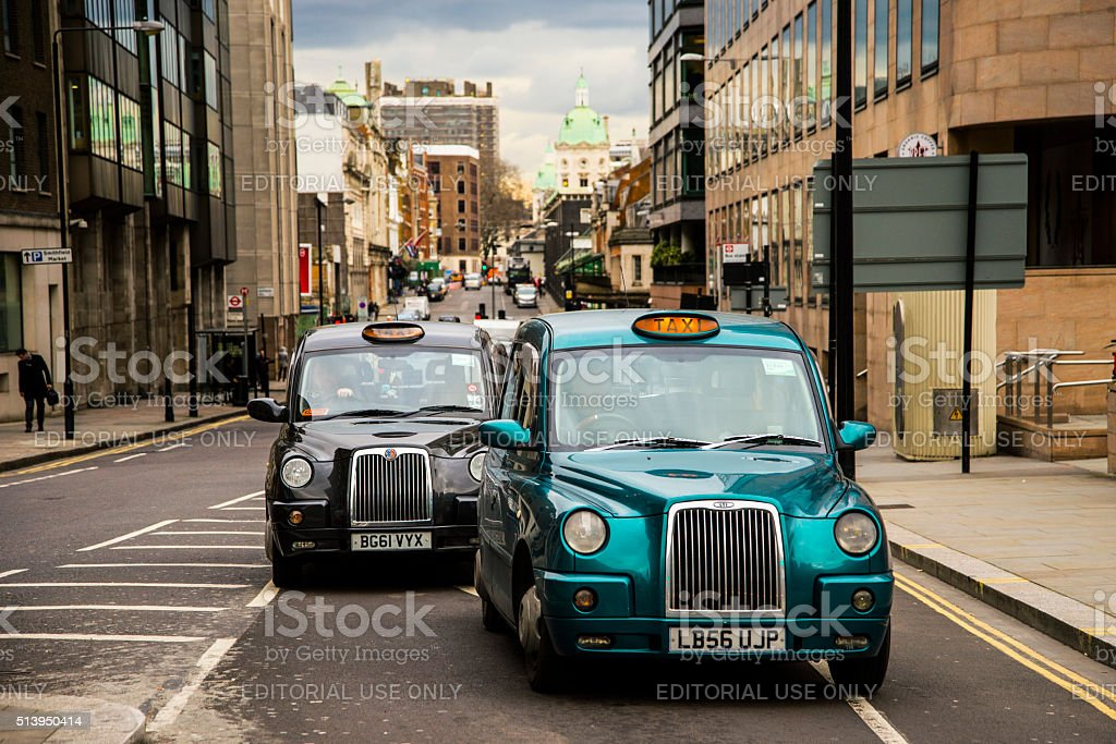 London taxis stock photo