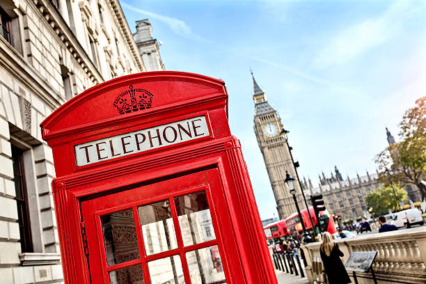 London telephone booth and big ben London telephone booth in front of  big ben and the houses of parliament in England london england stock pictures, royalty-free photos & images