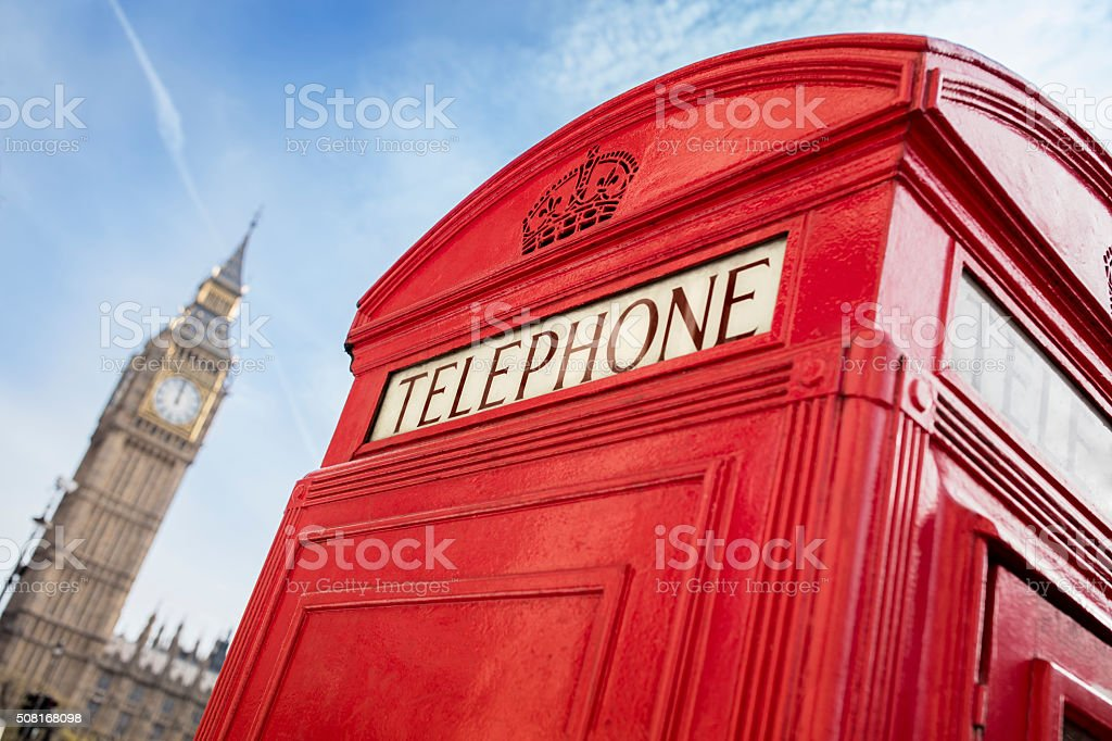 London telephone booth and big ben stock photo