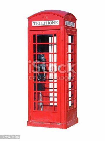 A masked version of a London telephone booth.