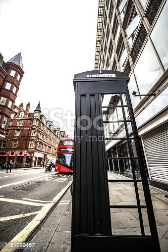London Telephone Booth Near A Bustling Street