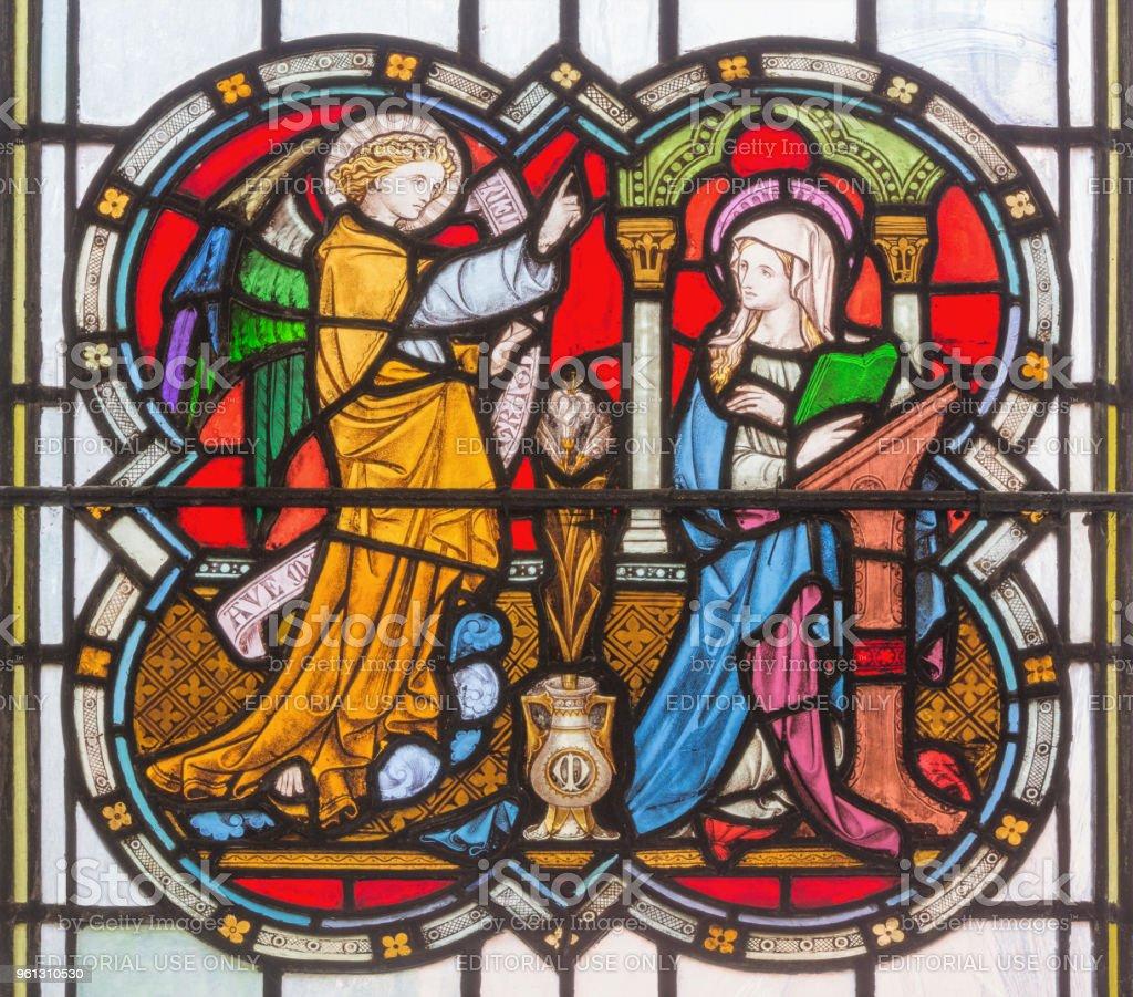 Londres - l'Annonciation sur le vitrail dans l'église St. Michael Cornhill - Photo