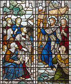 London -  The benediction of St. Paul the Apostle before shiping on the stained glass in church Holy Trinity Brompton.