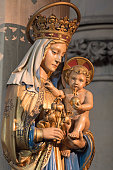 London - The carved polychrome statue of Madonna in church St. Barnabas by unknown artist of 19. cent.
