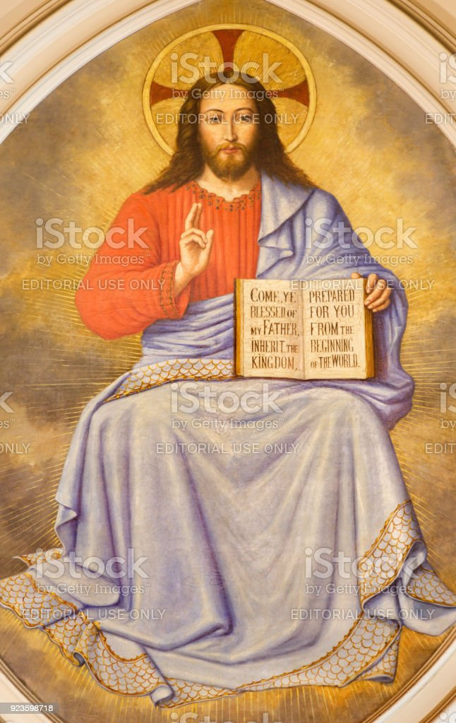 London - The fresco of Jesus Christ the Teacher in church St. Martin, Ludgate by unknown artist. stock photo