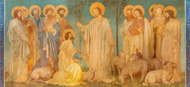 London - The fresco of scene   'Feed my sheep' - Jesus give the power to St. Peter  in church St. Mary Abbots by John Clayton jnr. (end of 19. cent.) stock photo