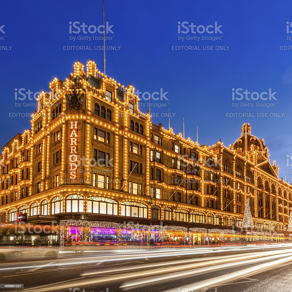 London, the Harrods department stores at night stock photo