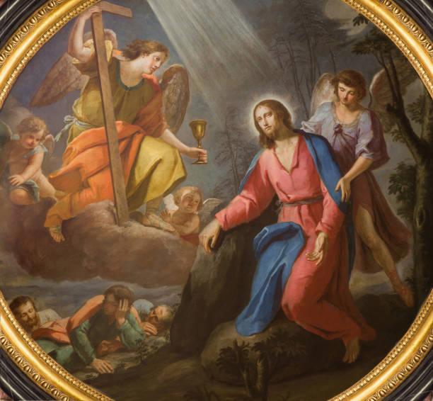 London - The Jesus in Gethsemane garden in church Chiesa di San Francesco da Paola probably by François Josermé from 18. cent. stock photo