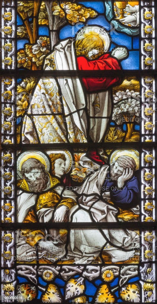 London - The Jesus prayer in Gethsemane garden in church St. James Spanish Place stock photo