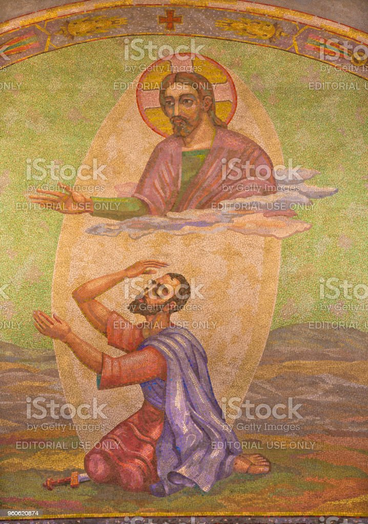 London - The mosaic of Conversion of St. Paul in Westminster cathedral stock photo