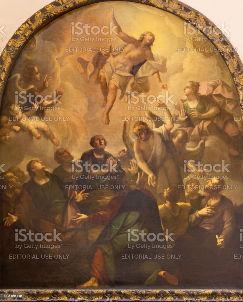 London - The painting of Ascension of the Lord in church St. Vedast alias Foster by R. Browne after Raphael (1720). stock photo