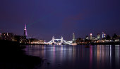 View of London's skyline during the opening of The Shard with the inaugural laser show - long exposure
