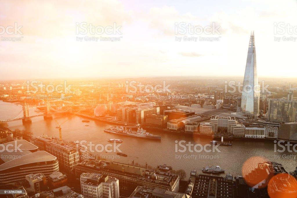 London den Shard modernes Bürogebäude Finanzviertel Wolkenkratzer Sonnenuntergang – Foto