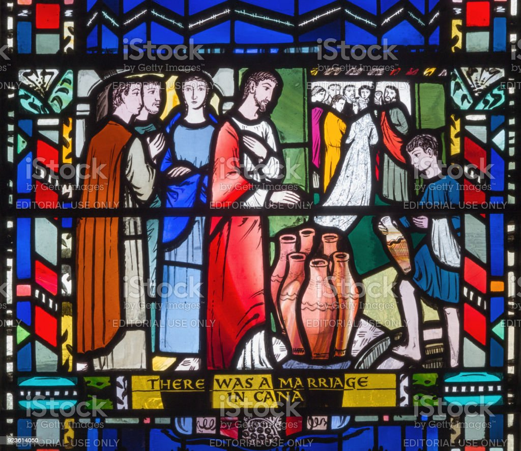 London Die Glasmalerei Der Hochzeit Zu Kana In Der Kirche St