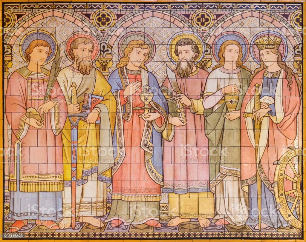 London - The tiled mosaic of Apostles and saints in church All Saints designed by Butterfield and painted by Alexander Gibbs (1873). stock photo