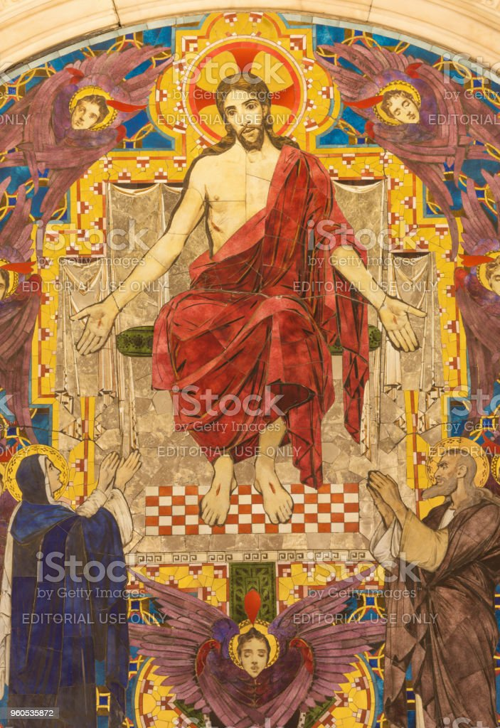 London - The tiled mosaic of Jesus Christ the Pantokrator in Westminster cathedral stock photo