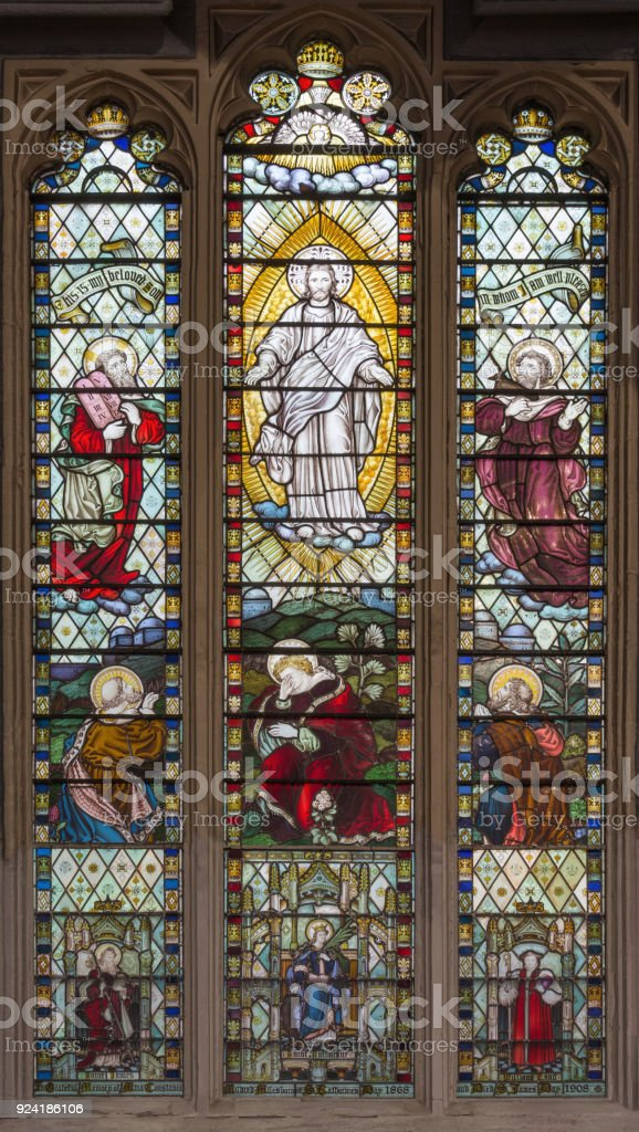 London - The Transfiguration of the Lord on the stained glass in the church St. Catharine Cree from 19. cent. stock photo
