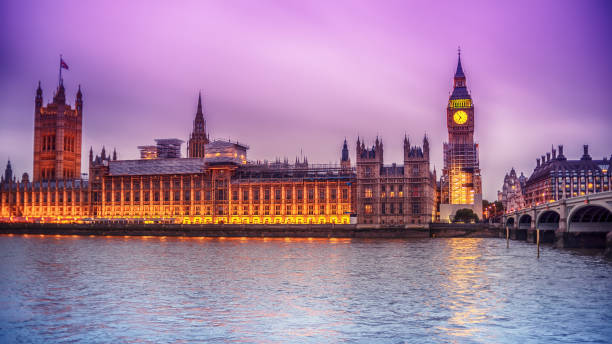 London, the United Kingdom: the Palace of Westminster with Big Ben, Elizabeth Tower, viewed from across the River Thames stock photo