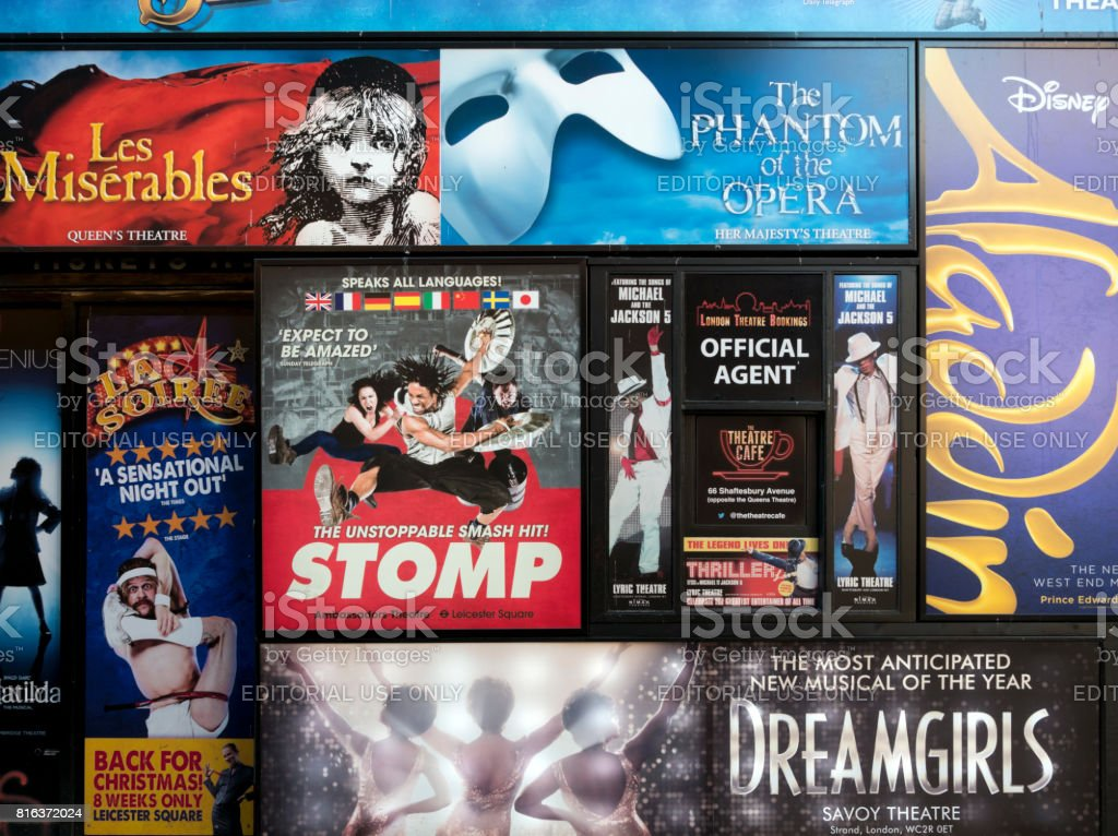 London theatre posters on a wall stock photo