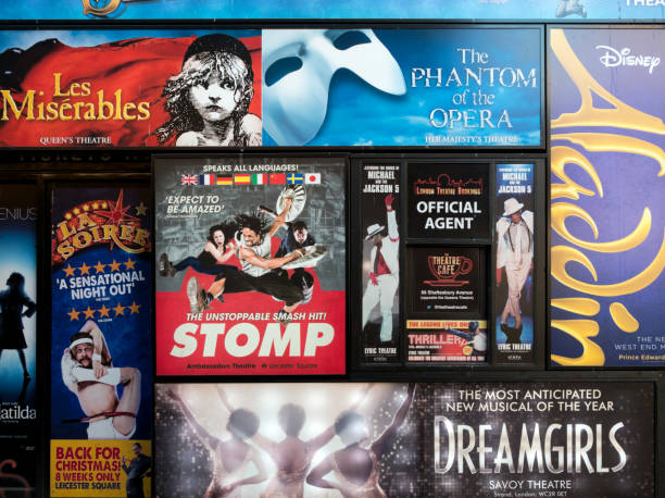 london theatre poster an der wand - musikposter stock-fotos und bilder