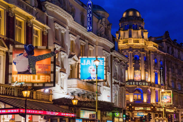 London Theatres at night This is a night view of famous Central London Theatres where many tourists and locals come to watch performances on March 26, 2018 in London central london stock pictures, royalty-free photos & images