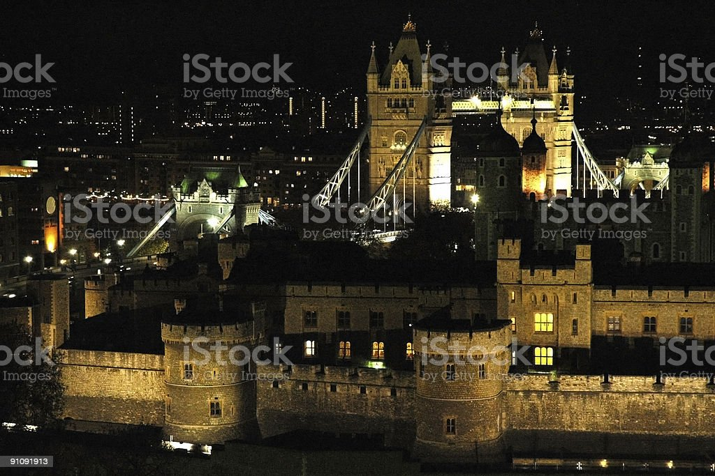 London Tower and Bridge by night wide shot royalty-free stock photo