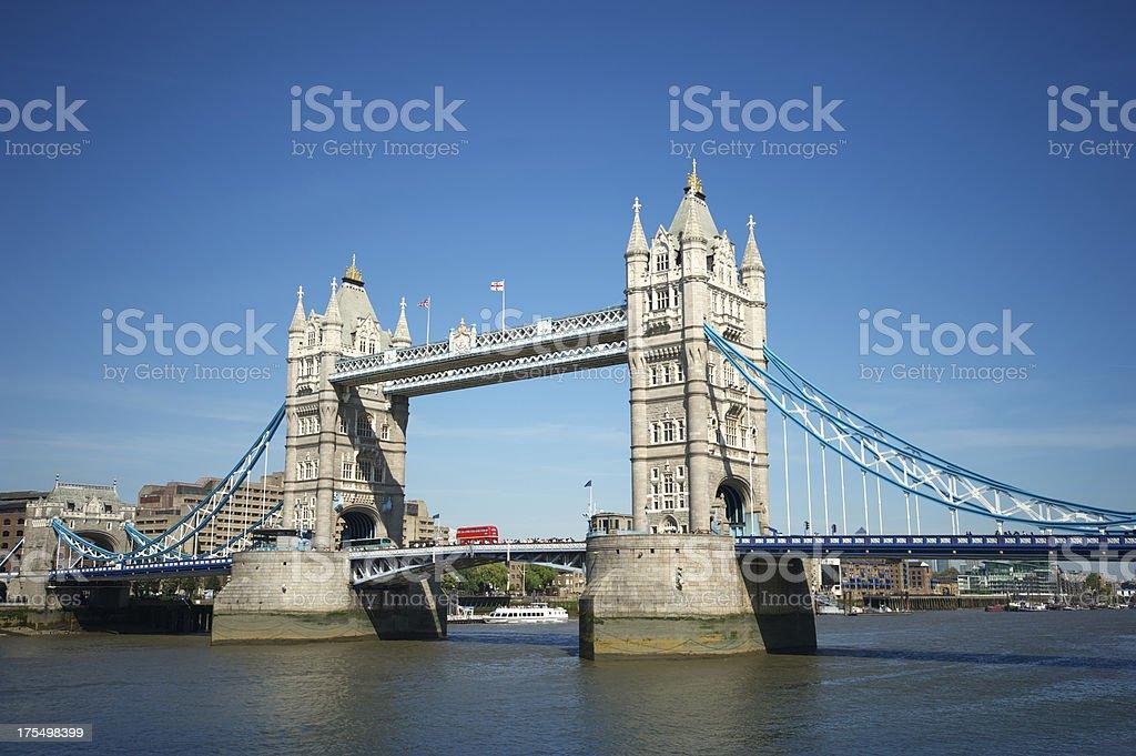 London Tower Bridge Bright Blue Sky Horizontal royalty-free stock photo