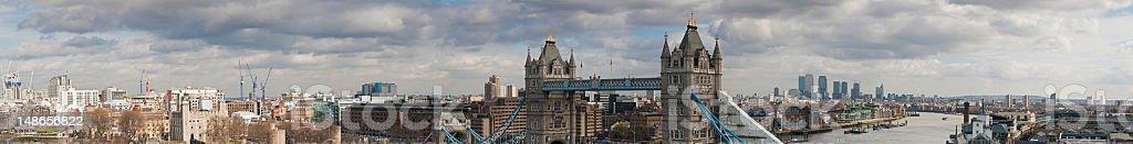 London Tower Bridge castle River Thames landmarks super panorama UK royalty-free stock photo