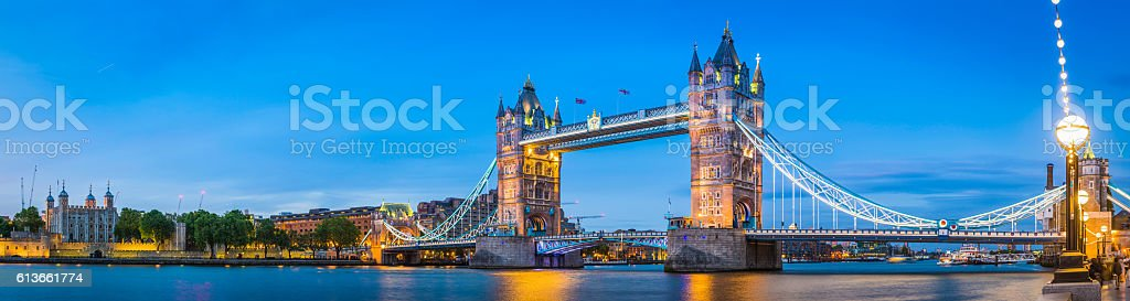 London Tower Bridge Embankment illuminated dusk River Thames panorama UK stock photo