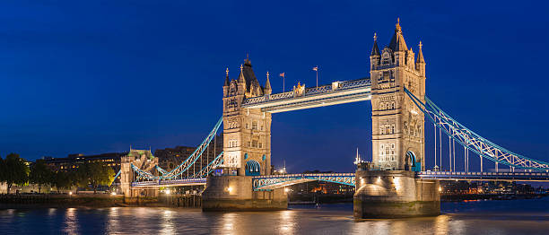 London Tower Bridge illuminated at dusk iconic Thames landmark UK stock photo