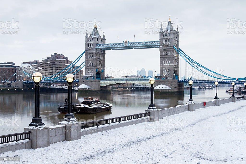 london tower bridge in snow stock photo