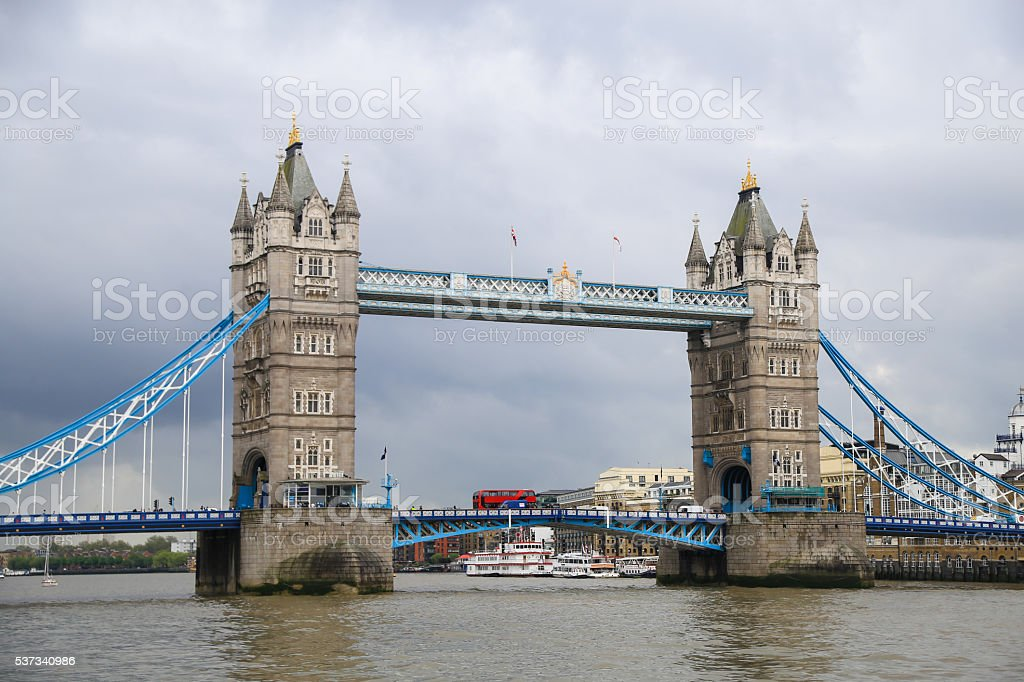 London Tower Bridge on Thames River in London. stock photo
