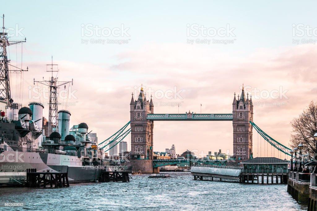 London Tower Bridge, sunny weather, England stock photo