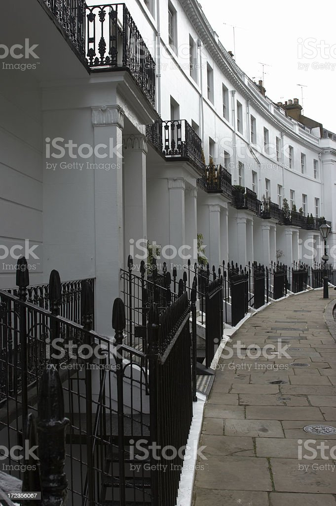 London townhouses side on curve royalty-free stock photo